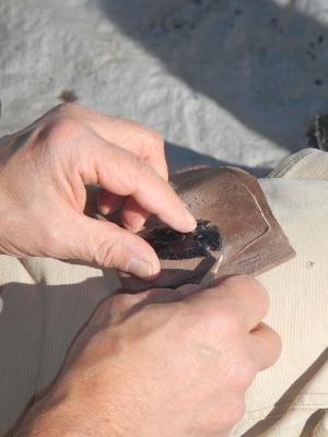finishing up an arrowhead
