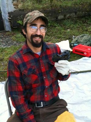 Instructor Jeremy with obsidian blank