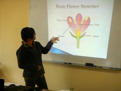 Instructor Georgie teaching plant anatomy