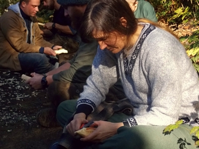 students practicing carving skills