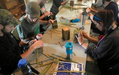 making cattail baskets