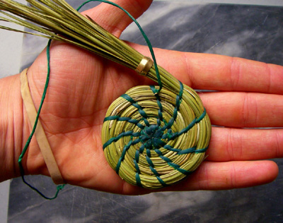 coiled pine needle basket in progress
