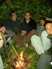 students inside a group shelter