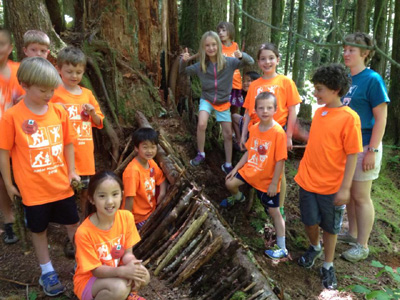 kids making a debris hut