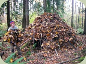 completing a debris tipi wilderness survival shelter