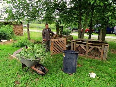 homemade compost bins at Alderleaf