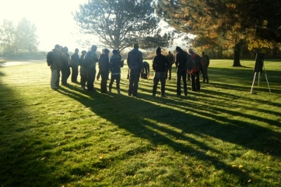 Morning lecture in the fall sunshine