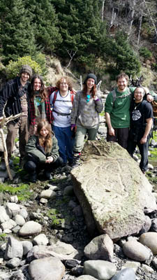 students with petroglyph